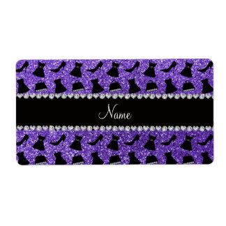 Monedero púrpura conocido de encargo del vestido d etiquetas de envío