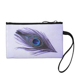 Monedero púrpura de la pluma del pavo real