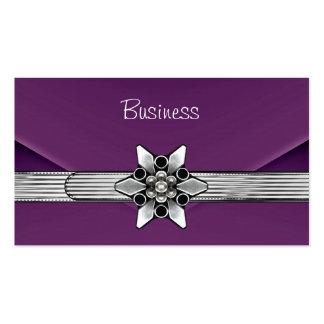 Monedero púrpura del embrague de la plata del terc tarjeta de visita
