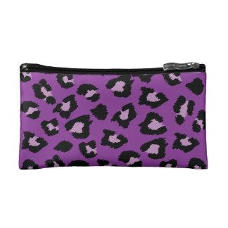 Monedero púrpura del estampado leopardo