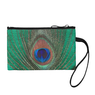 Monedero verde de la pluma del pavo real