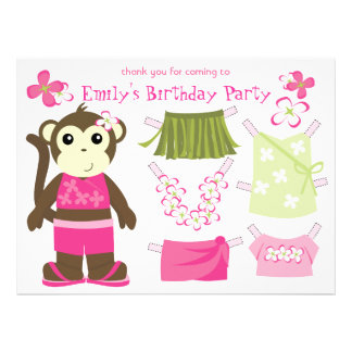 Moneky Doll Party Favor Personalized Invite