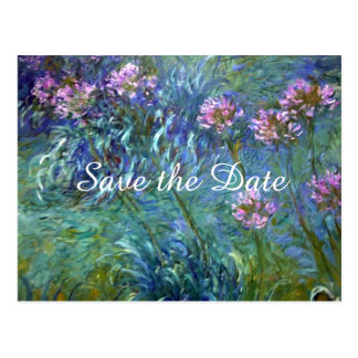 Monet Agapanthus Flowers Save the Date Wedding Postcard