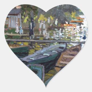 Monet Bathers at La Grenouillère Heart Sticker