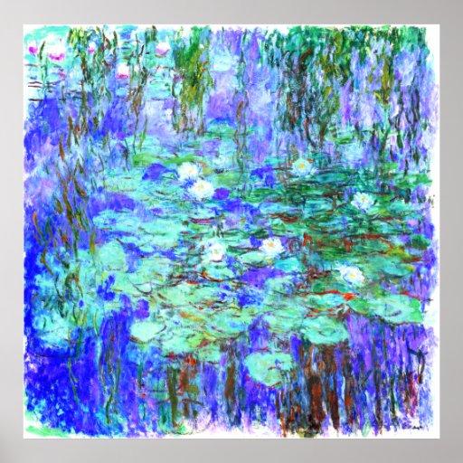 monet blue water lilies poster zazzle