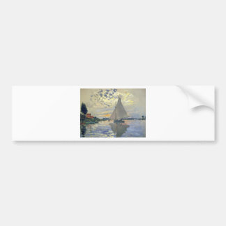 Monet boat water Sailing in Le-Petit-Gennevillie Bumper Sticker