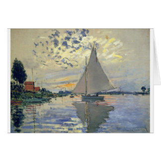Monet boat water Sailing in Le-Petit-Gennevillie Card