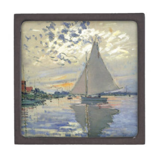 Monet boat water Sailing in Le-Petit-Gennevillie Keepsake Box