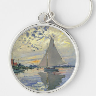 Monet boat water Sailing in Le-Petit-Gennevillie Keychain