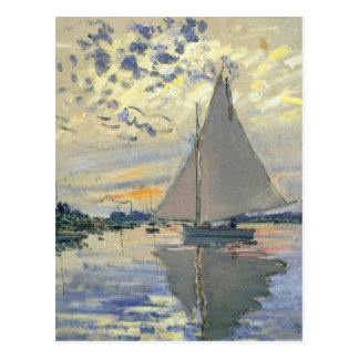 Monet boat water Sailing in Le-Petit-Gennevillie Postcard
