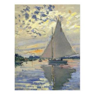 Monet boat water Sailing in Le-Petit-Gennevillie Postcard