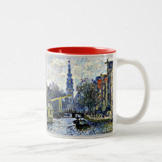 Monet: Canal en Amsterdam Taza Dos Tonos