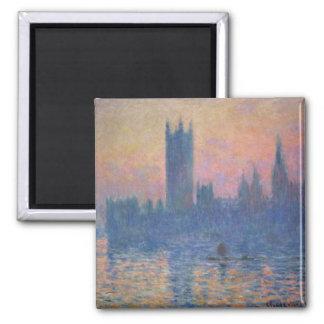 Monet - casas del parlamento en la puesta del sol imán cuadrado