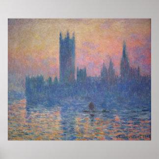 Monet - casas del parlamento en la puesta del sol póster