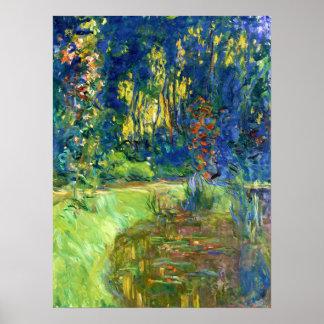 Monet - charca del lirio de agua en Giverny Póster