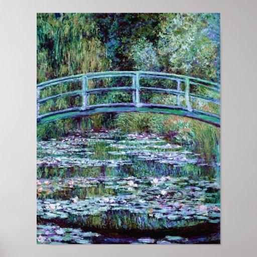 Monet - charca del lirio de agua y puente japonés posters