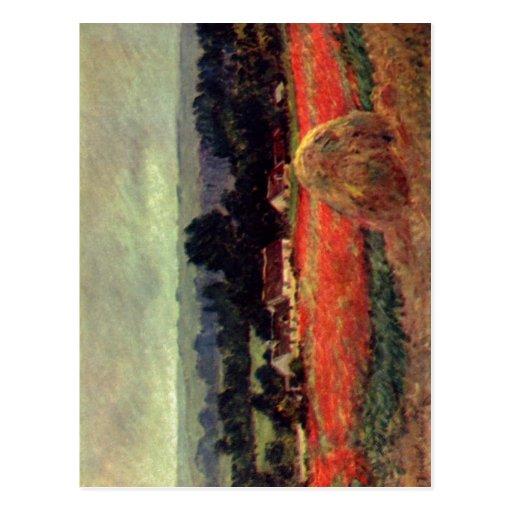 Monet, Claude Das Mohnblumenfeld (Der Heuschober) Tarjetas Postales