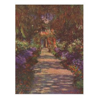 Monet, Claude Gartenweg 1902 Technique ?l auf Lein Postcard