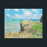 """Monet Cliff Walk at Pourville Canvas Print<br><div class=""""desc"""">Monet Cliff Walk at Pourville canvas wrap. Oil on canvas from 1882. French impressionist Claude Monet frequently painted the sea, and this is one of his most beloved and famous ocean paintings. The work features two girls standing on a grassy cliff overlooking the blue waves beyond. One of the girls...</div>"""