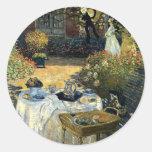Monet - el alumerzo pegatina redonda