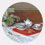 Monet: El juego de té Pegatina Redonda