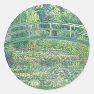 Monet el pegatina de la charca del lirio de agua
