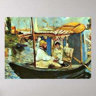 Monet en su barco flotante del estudio de Eduardo  Póster