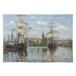 Monet envía el montar a caballo en la bella arte mantel