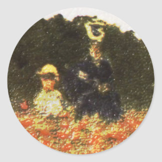 monet - esposa e hijo pegatina redonda