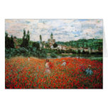 Monet Field of Red Poppies Greeting Card