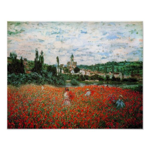 Monet Field of Red Poppies Poster