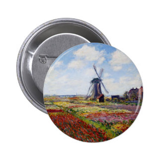 Monet Field of Tulips With Windmill Button