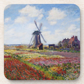 Monet Field of Tulips With Windmill Coasters