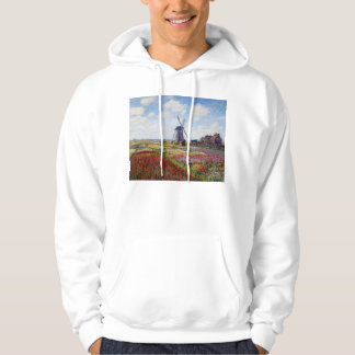 Monet Field of Tulips With Windmill Hoodie