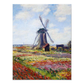 Monet Field of Tulips With Windmill Inivations Card