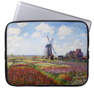 Monet Field of Tulips With Windmill Laptop Sleeve