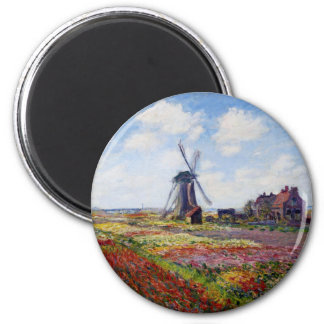Monet Field of Tulips With Windmill Magnet