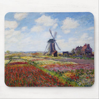 Monet Field of Tulips With Windmill Mouse Pad