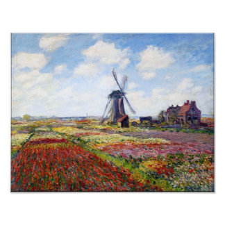 Monet Field of Tulips With Windmill Print