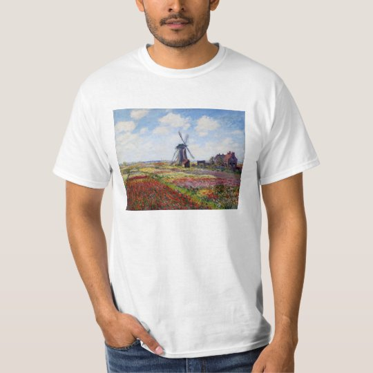 Monet Field of Tulips With Windmill T-shirt