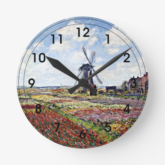 Monet - Fields of Tulips with Rijnsburg Windmill Round Clock
