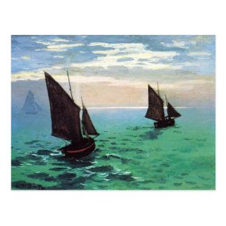 Monet Fishing Boats at Sea Postcard