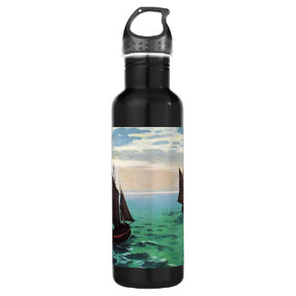 Monet Fishing Boats at Sea Water Bottle