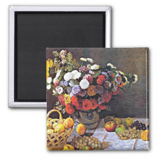 Monet - flores y fruta imán para frigorifico