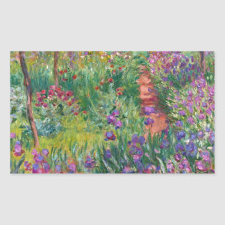 monet flowers vintage the-iris-garden-at-giverny rectangular sticker