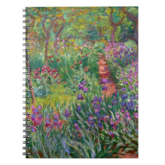 monet flowers vintage the-iris-garden-at-giverny spiral notebook