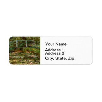 Monet French Japanese Bridge Impressionist Return Address Label
