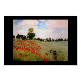 Monet garden blossoms vintage old painting poppies poster