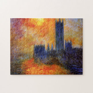 Monet House of Parliament and Sunset Puzzle