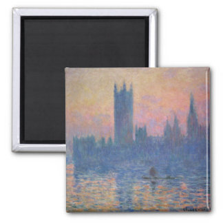 Monet - Houses of Parliament at Sunset 2 Inch Square Magnet